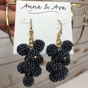 Anna & Ava blue gold beaded ball drop